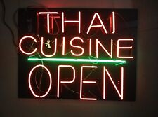 "New Thai Cuisine Open Neon Light Sign 24""x20"" Lamp Poster Real Glass Beer Bar"