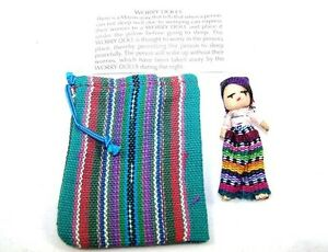 Large single worry doll dolls with textile pouch by Mayan artisans fair trade