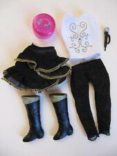 Lot Disney Hannah Montana Doll Miley Cyrus Clothes Gold/Black Shoes Boots Skirt