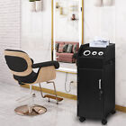 Salon Trolley Wooden Stylist Cart Beauty Hair Dryer Holder Barber Station Black