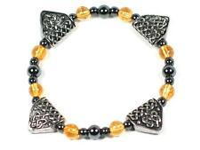 Handmade Citrine and Celtic design pewter Dragons Teeth bracelet. Wealth Success