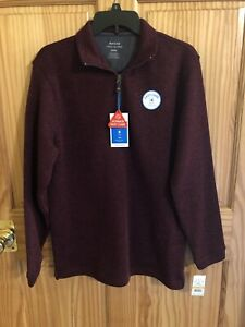 Haggar Mens 1/4 Zip-Up Sweater Small Sweatshirt Wine Retail $55 (s-blk-33-23)
