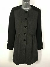 WOMENS H&M BLACK WHITE FLECK WOOL BLEND BUTTON UP FITTED FLARE COAT UK 6-8 US 4