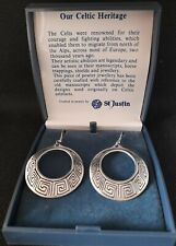 St.Justin pewter boxed vintage earrings