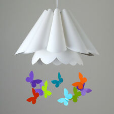 Childrens Bedroom Pleated White Ceiling Pendant Light Shade Butterfly Design