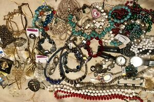 7 lbs Junk Craft Repair Salvage Jewelry Lot Necklaces, Bracelets, Watches