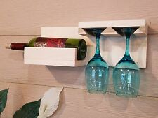 WALL MOUNT WINE BOTTLE AND GLASS STORAGE HOLDER DISPLAY WOOD RACK SHELF NATURAL