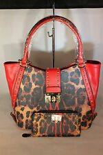 Leopard Print Purse with Red Trim & Studs & Matching Wallet 13-489 RED 170