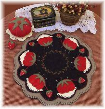 PATTERN!~*Tomato & Strawberry Candle Mat Pincushion*~ Penny Rug~Retro *PATTERN!*