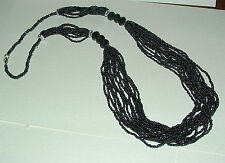 """30"""" LONG CHARCOAL GREY BLACK GLASS SEED BEADED MULTI STRAND NECKLACE BD"""
