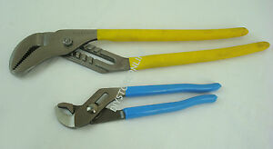 """16"""" & 9 1/2"""" 240mm Water Pump Tongue & Groove Pliers Polished Head Vinyl Grips"""