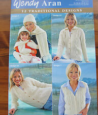 """Wendy Aran knitting pattern book 274. 12 traditional designs 30-52"""" chest."""