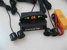[ negro ] coche (parking de marcha atrás ] traseros de 4 sensores Kit Visualizador LED timbre de alarma del Reino Unido