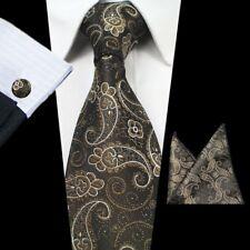 Golden Brown Paisley Jacquard Tejido Hombre Corbata De Seda Set Pañuelo Gemelos Corbata Set