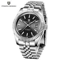 Luxury PAGANI DESIGN Sapphire Crystal Mens Automatic Mechanical Watch Steel Band