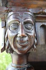 19C English Gothic Carved Oak Mask/Finial Bookcase