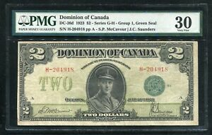 DC-26d 1923 $2 DOMINION OF CANADA BANKNOTE GREEN SEAL PMG VERY FINE-30