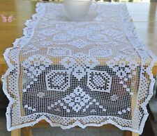 Chic White Handmade Filet Lace Cotton Doily Table Runner Tablecloth 33x14""