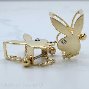 14K YELLOW GOLD IP PLAYBOY BUNNY LOGO 14G NIPPLE BAR RING SHIELDS (PAIR)