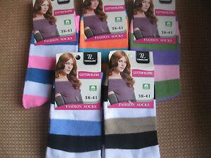 Ladies/girls Tinglun socks,size 3-5 or 5-7,80% cotton,various colours,stripes