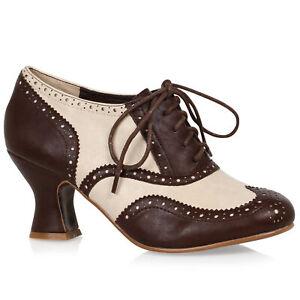 Bettie Page BP254-PATRICIA Brown Rockabilly Retro VIctorian Oxford Shoe Heel