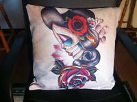Sugar Skull Day of the Dead Lolita Rose Linen Square Pillow Cushion Cover.