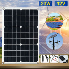 20W 12V/5V DC Wasserdicht Solarpanel Solarzelle USB für Handy Auto Ladegerät
