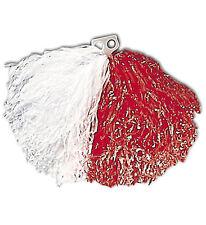 Accessorio Costume Carnevale Cheerleader, Pon Pon Bianco Rosso PS 21613 Pom-pom