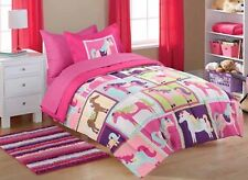 5pc PONY Twin-Single COMFORTER+SHAM+SHEET SET Bed in a Bag Pink Dot HORSEY Horse
