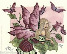 Amy Brown Sticker Decal Fairy Faery Rose Pink Garden Bud Fantasy Art Butterfly