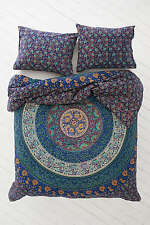 Indian Queen Size Reversible Duvet Cover Handmade Mandala Quilt Doona Cover Set