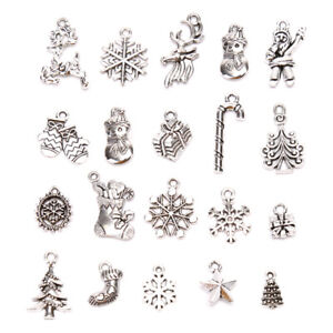 19Pcs Tibetan Silver Mix Style Christmas Charms Pendant Jewelry Making CraftS mi