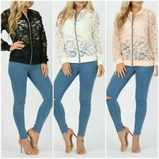 New Ladies Casual Lace Floral Full Sleeve Zip Front Women Bomber Jacket 8-14