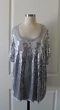 NWT INC International Concepts Woman Gray Sequin Stretch Knit Top - Sz. 2X
