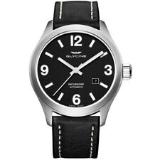 GLYCINE Watch 3900.19-LB9B Men Incursore III Automatic Date Leather Strap Black