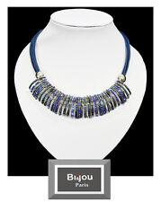 Luxus Lederkette Halskette Bi&Jou Paris Leder Kette Korallen-Perlen Versilbert