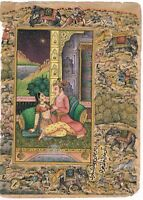 Hand Painted Mughal Love Scene Miniature Painting India Artwork Hunting Finest
