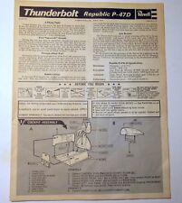 Vintage 1969 Revell Republic P-47D Thunderbolt Instruction Sheet Bubbletop 1/32