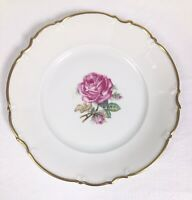 """Hutschenreuther Selb Bavaria Germany Porcelain PASCO Pink Roses Salad Plate 8"""""""
