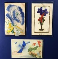 3 Novelty Antique Postcards w Ribbon Attached. For Collectors. Nice w Value