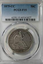 1875 CC  50C PCGS F 15      Liberty Seated Half Dollar