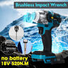 "18V 1/2"" 520Nm Impact Wrench Brushless Cordless Drill For Makita Battery DTW285Z"