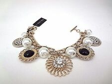 WHITE HOUSE BLACK MARKET Pearl and Coin Statement Charm Bracelet Goldtone - NWT