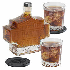 Harley-Davidson® Bar & Shield Decanter, Glasses & Coasters 5-pc Set HDL-18746