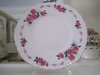 BEAUTIFUL VINTAGE COLCLOUGH PINK ROSES ON PINK FINE BONE CHINA CAKE PLATE