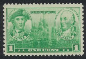 Scott 790- Navy Heroes: Jones and Barry- MNH 1c 1937- unused mint stamp