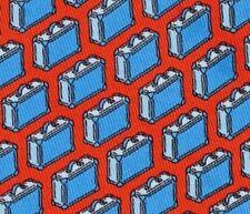 "Adorable New Hermes Silk Tie Orange/Blue ""Happy Briefcases"" Fun Motif Rare Mint!"