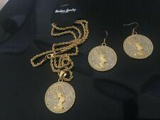 Gold Coin medallion Chain necklace Egyptian pharaoh Pendant & Earring Set