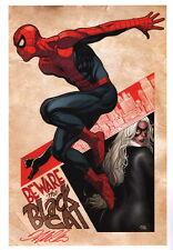 Frank Cho SIGNED Marvel Comic Super Hero Art Print Amazing Spiderman & Black Cat