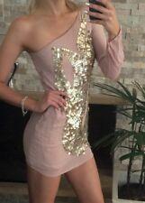 ⭐️ Womens ASOS Brand Size 12 One Shoulder Sequin Mini Dress EUC ⭐️